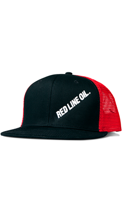 Picture of Black/Red Mesh Flat Bill Hat